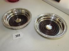 Pair of Antique Solid Silver Coasters Each 5