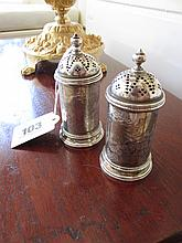 Antique Engraved Silver Plated Salt and Pepper