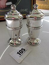 Pair of Antique Solid Silver Salt and Pepper