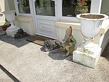 Pair of Victorian Cast Iron Garden Urns on Plinth