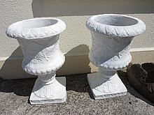 Pair of Vintage Composite Stone Garden Urns Each