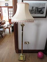 Antique Brass Standard Lamp on Column Supports