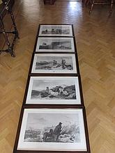 Set of Six Framed Hunting Scenes Indistinctly