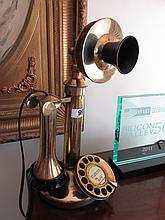 Antique Brass Standing Telephone 12 inches High