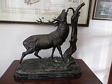 Antique Bronze Sculpture of a Stag on Marble Base