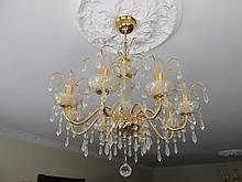 Pair of Cut Crystal Brass Mounted Chandeliers Each