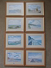 John Greene Set of Eight Framed Watercolours Dated