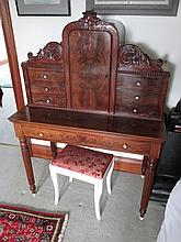 Regency Figured Mahogany Desk with Turned Ivory
