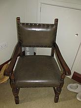 Edwardian Carver with Upholstered Back and Seat 40