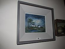 Carmel Mooney Cottage Scene Oil on Board 5 Inches
