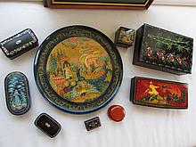Selection of Russian Papier Mache Trinket Boxes