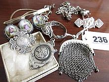 Victorian Silver Mesh Coin Purse and Other Silver