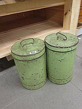 Pair of Antique Green Painted Tin Bins Highest 12
