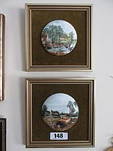 Pair of Gilt Framed Coalport Hand Painted