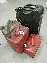 Jerry Can Plus Three Antique Fuel Containers