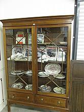 Antique Astral Glazed Two Door Display Cabinet on