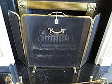 Three Fold Brass Framed Fire Screen with Upper Bow