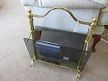 Brass Framed Glass Panel Magazine Rack of