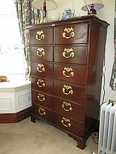 George III Tall Chest of Twelve Drawers with Cast