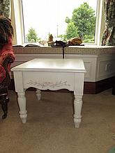 Modern Cream Painted Low Table on Turned Supports