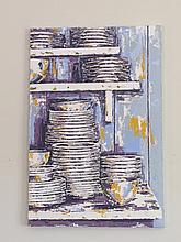 Yvonne Moore Stacked Dishes Oil on Canvas 30