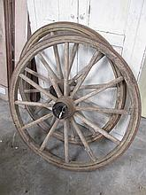 Two Antique Cart Wheels