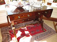 Regency Mahogany Two Door Drop Leaf Sofa Table on