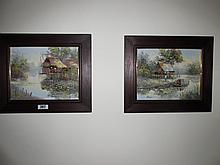 Pair of Oriental Oil on Canvas Paintings Signed
