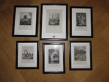 Set of Six Irish Scene Steel Engravings Framed