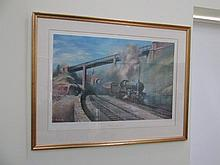 Fine Art Lithograph Steam Train Signed and