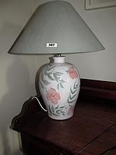 Modern Porcelain Floral Decorated Lamp with Shade