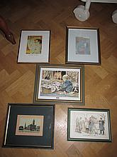 Five Vintage Framed Lithographs