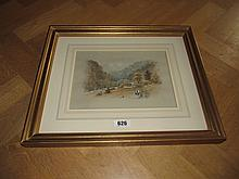 Gilt Framed Antique Watercolour Mountain Scene