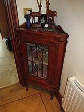 Edwardian Glazed Corner Cabinet with Single Glass