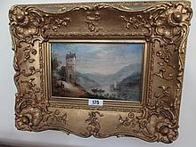 Victorian School Gilt Framed Oil on Board Lake