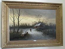 Victorian School Gilt Framed Oil on Canvas Winter