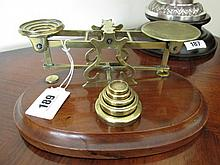 Victorian Brass Mounted Postal Weighing Scales on