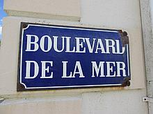 Vintage French Boulevard De La Mer Road Sign 18