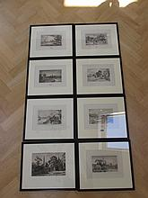 Eight Framed Etchings Irish and Other Scenes Each