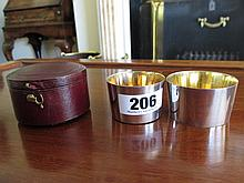 Edwardian Solid Silver Travelling Cups in Leather