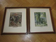 Pair of Framed Ep Kinsella War Lithographs Antique