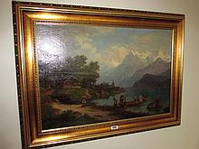Victorian School Boating Scene with Mountains