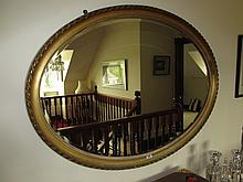 Victorian Gilt Framed Oval Wall Mirror with