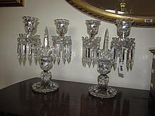 Pair of Baccarat Crystal Twin Branch Table