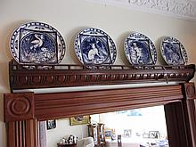 Antique Wooden Over Door Galleried Plate Display