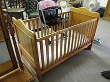Pine Cot with Mattress and Base and High Chair