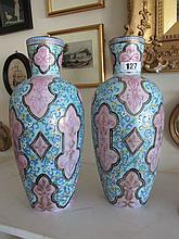 Pair of Unusually Decorated Painted Vases Each 11