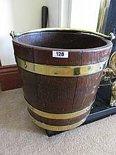 Antique Brass Bound Fuel Bucket with Swing Handle