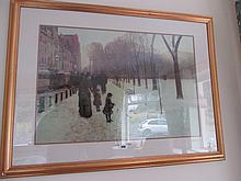 Childe Hassam Gilt Framed Lithograph A Boston