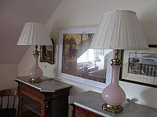 Fine Pair of Brass Mounted Glass Lamps with